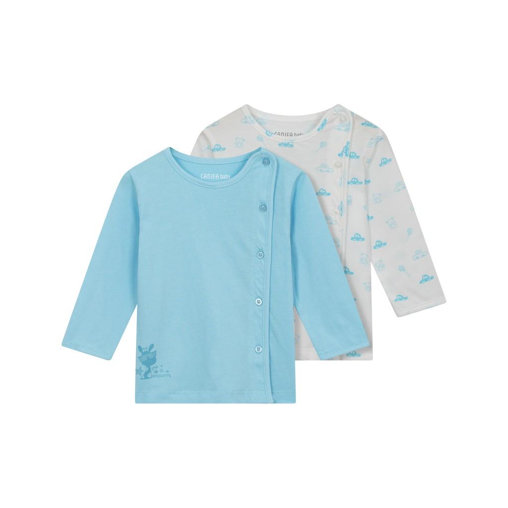 Combo 2 áo sơ sinh dài tay 100% Cotton USA - Oekotex Class 1 Canifa 4LT18A001