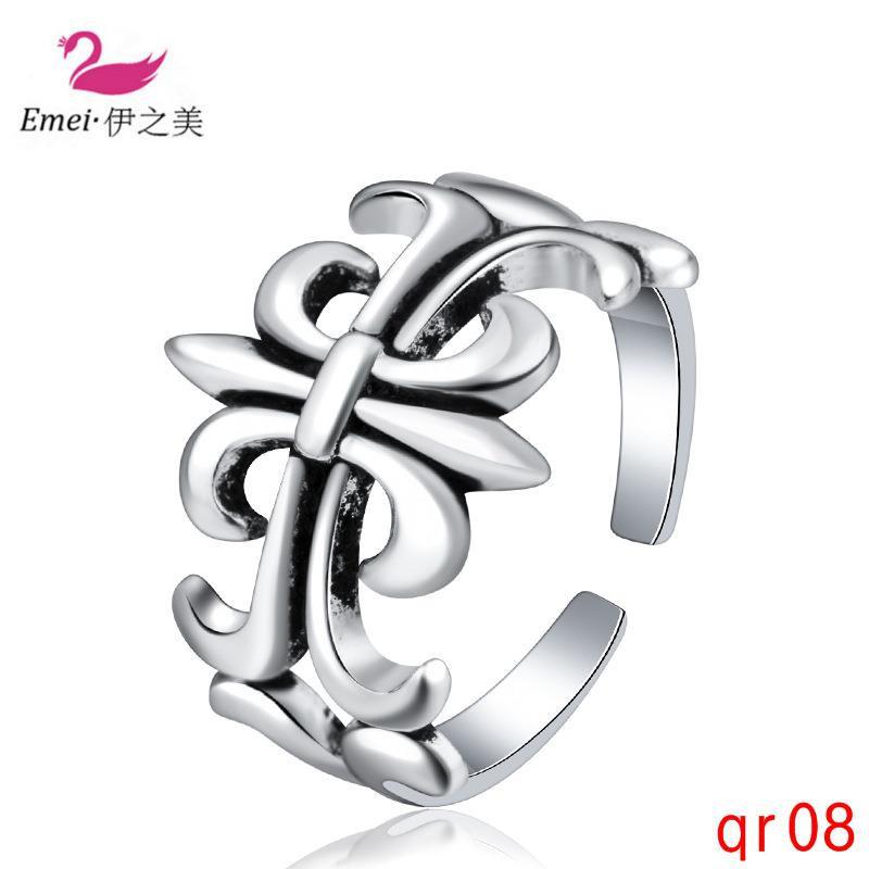 แหวนเงินไทยที่เรียบง่ายแปลกใหม่แหวนวินเทจลายนิ้วมือที่จะส่งแหวนแฟนของเขา