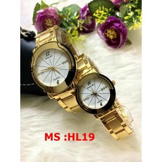 đồng hồ nam nữ halei mặt trắng hLT01 chống nước chống xước,tặng kèm vòng tì hưu