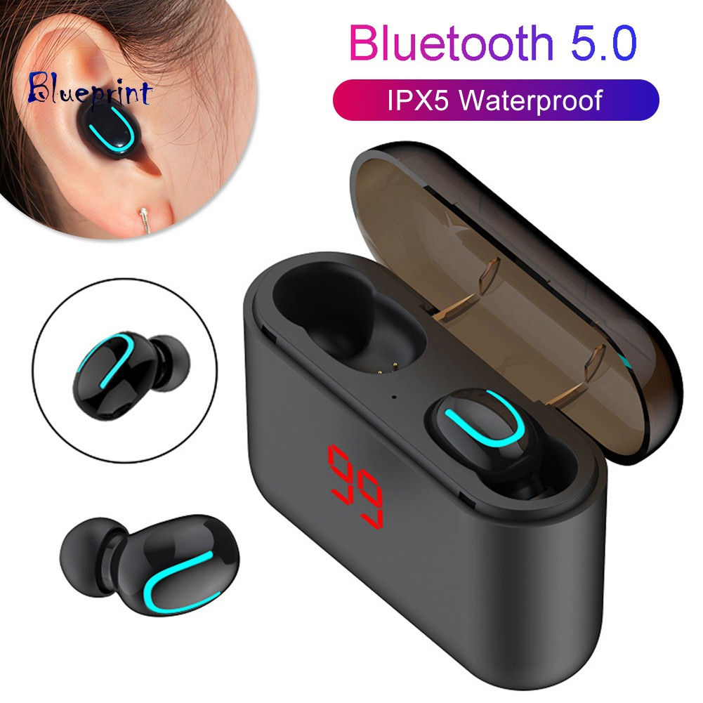 ☞BPQ32 Portable Heavy Bass Stereo Wireless Bluetooth 5.0 Earphones with Charge Case