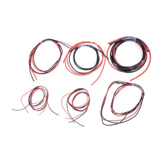 1meter Red+ Black Silicon Wire 12 14 16 18 22 24AWG Heatproof Soft Silicone