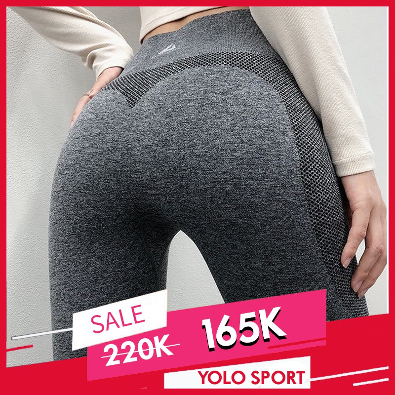 Quần Dài Legging Nữ Tập Gym Yoga Thể Thao (Nâng Mông Tôn Dáng Vòng 3) - Vải Dệt Kim Không Đường May Cao Cấp