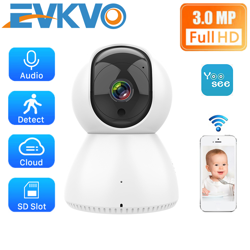 EVKVO - Theo dõi tự động - Yoosee APP Full HD 3MP Indoor Mini Wireless WIFI IP Camera CCTV Home Security Surveillance CCTV Camera Infrared Night Vision Two Way Audio Motion Detection Alarm Baby Monitor
