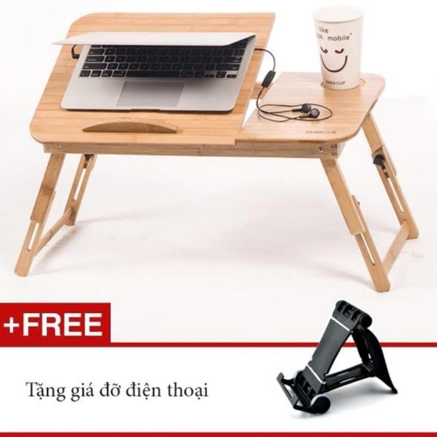 Bàn laptop gỗ tre đa năng L08 ngăn kéo tiện lợi + Giá điện thoại