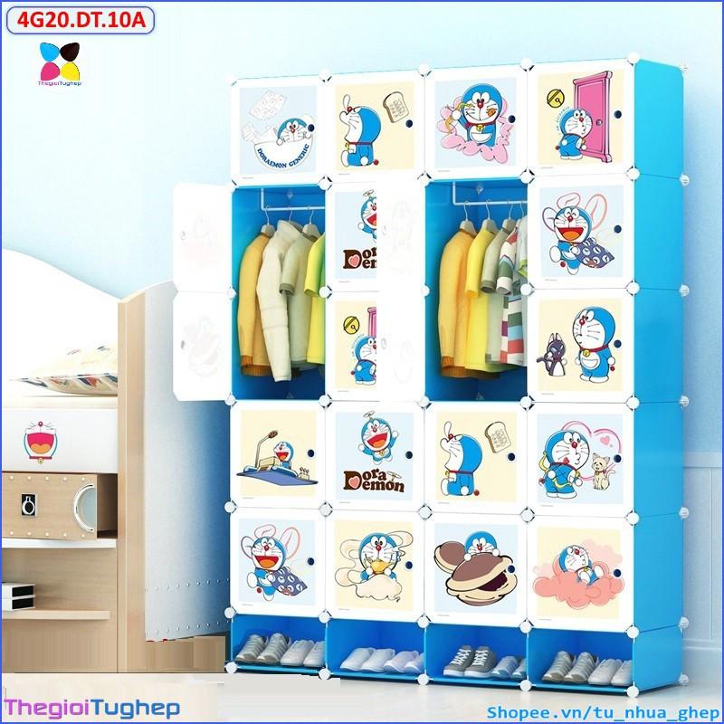 Tủ nhựa lắp ráp 20 ô và 4 ô giầy sâu 47cm (thân xanh dương trơn, cánh đô rê mon mới)