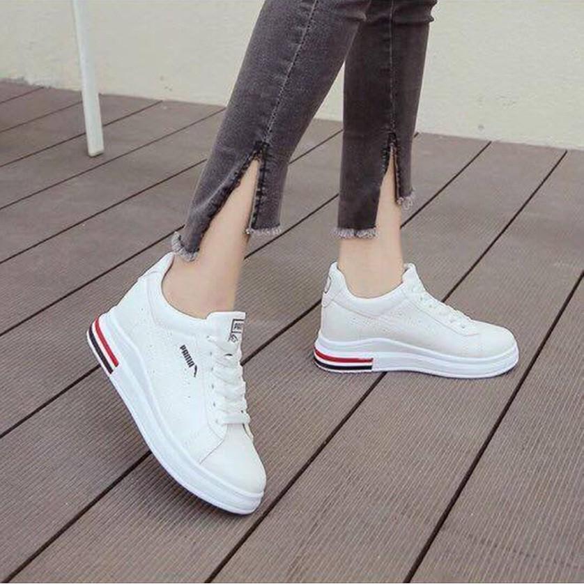 Thể thao Sneakers Pama đế cao màu trắng