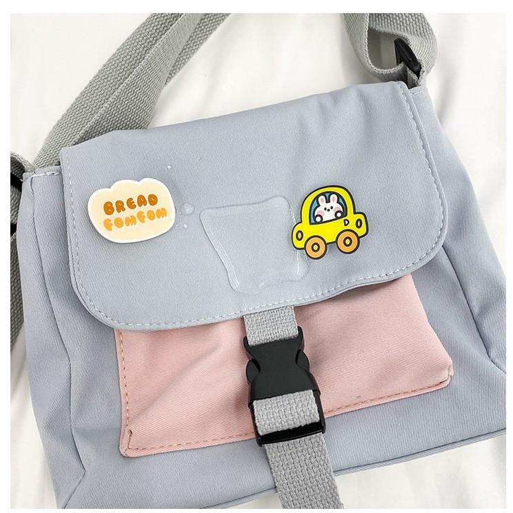 Túi Đeo Chéo Vải Oxford Mềm Mại Nam Nữ Kèm Stiker Khóa Đai Chắc Chắn HA963