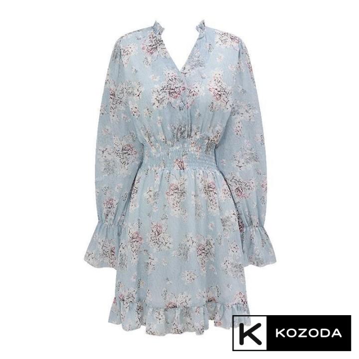 Mặc gì đẹp: Váy Hoa Nhí Đầm Voan Dáng Dài đẹp dễ thương dáng xòe có lớp lót Quảng Châu kozoda d14