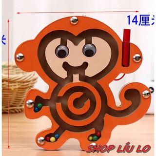 Đồ chơi mê cung hình chú khỉ bằng gỗ bé dùng bút nam châm để giải mê cung cứu các bi sắt