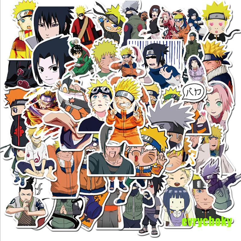 EVRY 50pcs/Pack Cartoon NARUTO Anime Stickers Waterproof Skateboard Sticker Kids Toys