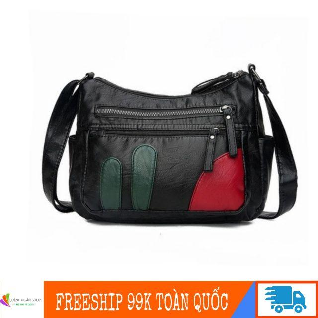Túi da mềm vạt đỏ size đại QN511