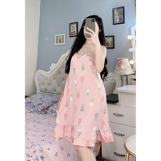 Đầm Ngủ Baby Váy Ngủ 2 Dây Lụa Satin Cao Cấp Babi mama - BV01 thumbnail