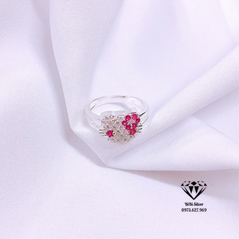 Nhẫn bạc cho bé gái hình kitty đính đá siêu xinh có 3 size 13-14-15mm - Nhẫn trẻ em bạc bibi