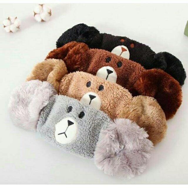 Khẩu trang có bịt tai siêu ấm áp, Khẩu trang che tai hình gấu dễ thương.