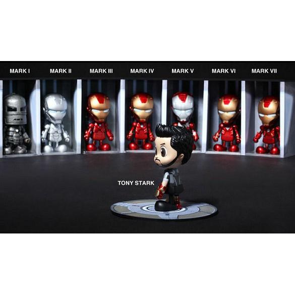 8pcs Iron Man MK1-7 Cute Q Version PVC Action Figure