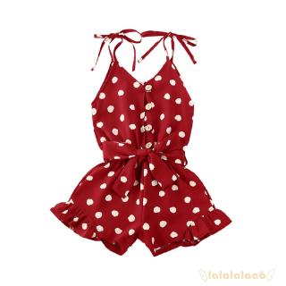 ◕ω◕Baby Girl Polka Dot Printing Bow Button Lotus Leaf Vacation Boho Summer jumpsuit