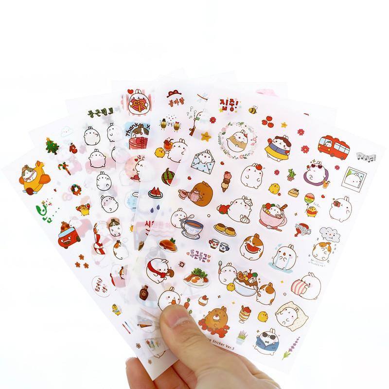 Bộ 6 tờ giấy dán sticker hình chú thỏ đáng yêu