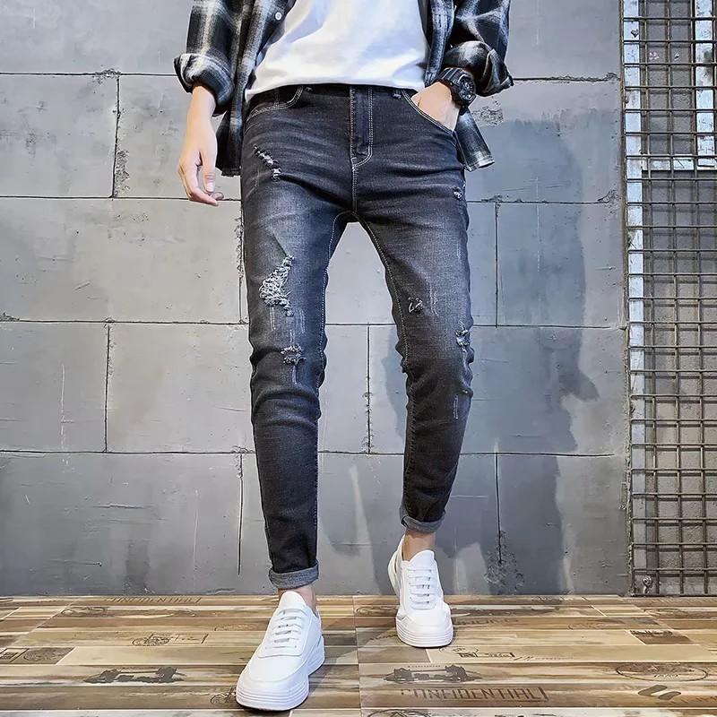 quần jeans nam dài ôm chân thời trang hàn
