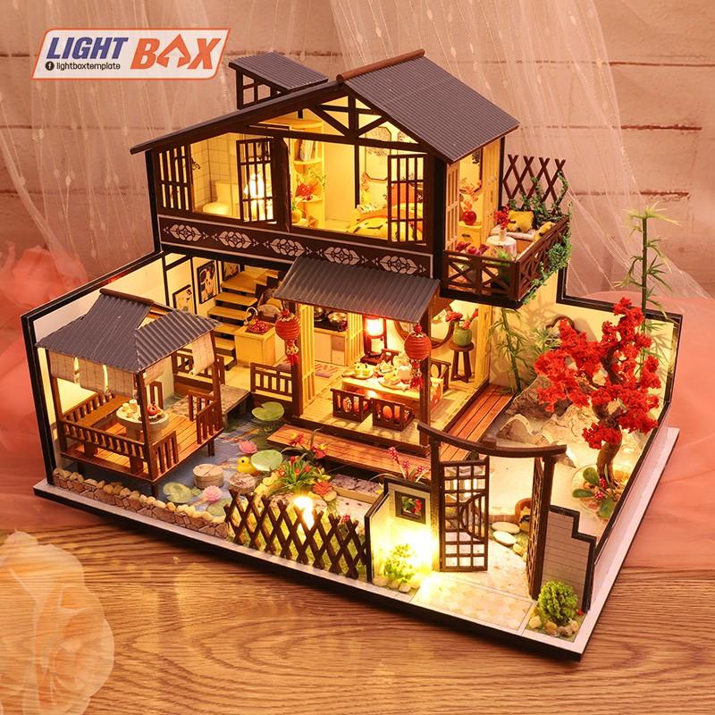 Nhà búp bê Tự làm bằng gỗ [Nhà có nội thất JAPANESE STYLE HOUSE & đèn LED & Âm nhạc] Tặng dụng cụ và keo
