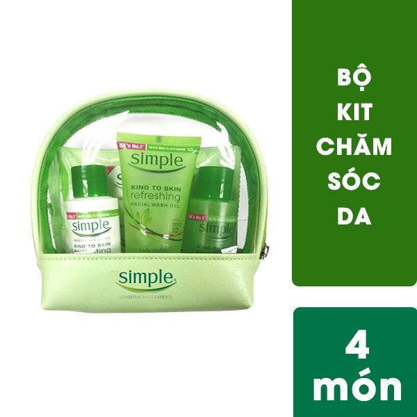 Bộ travel kit Simple: gel rửa mặt 50ml, toner 50ml, dưỡng ẩm 50ml, khăn tẩy trang 7 tờ