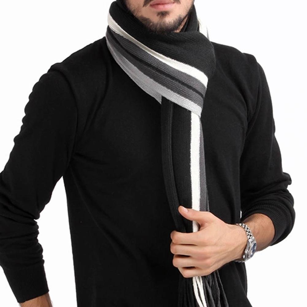 Han Edition Tassel Man With Thick Color Matching Striped Scarf