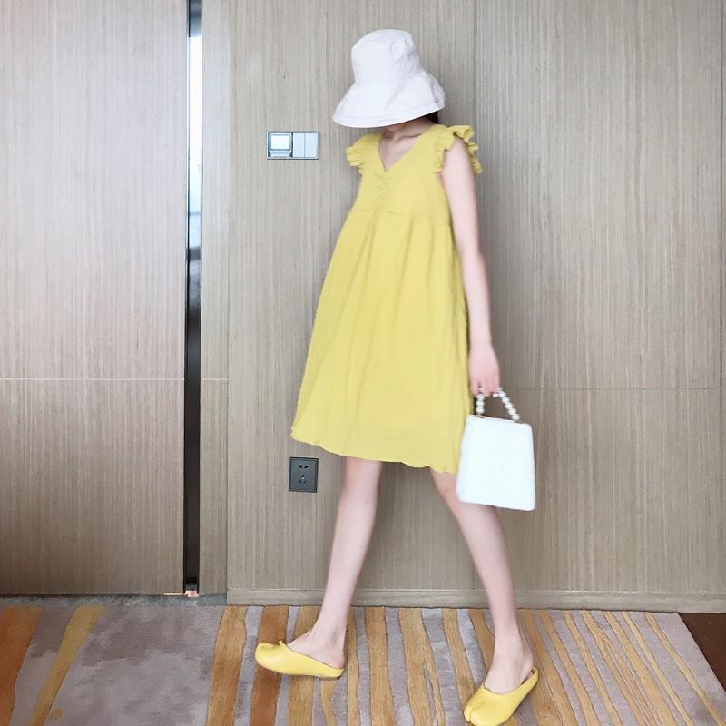 Lemon yellow flying sleeves chiffon dress loose slim back straps girlfriends two models