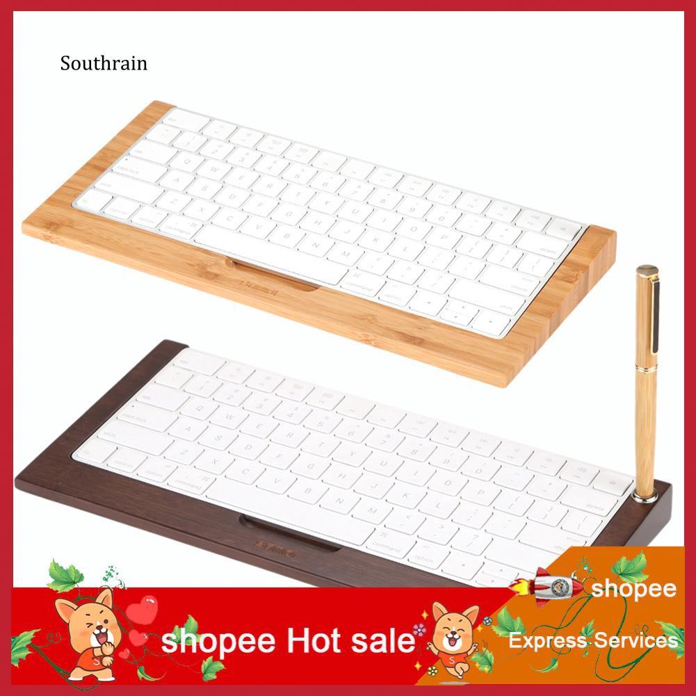 STRN_Retro Bamboo Stand Dock Holder for Apple iMac 2nd Wireless Bluetooth Keyboard