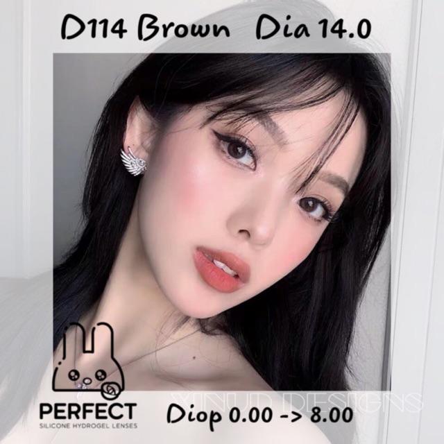 [Giá 1 Đôi] 14.0 (0.00 -> 8.00) Lens D114 Brown – Kính Áp Tròng