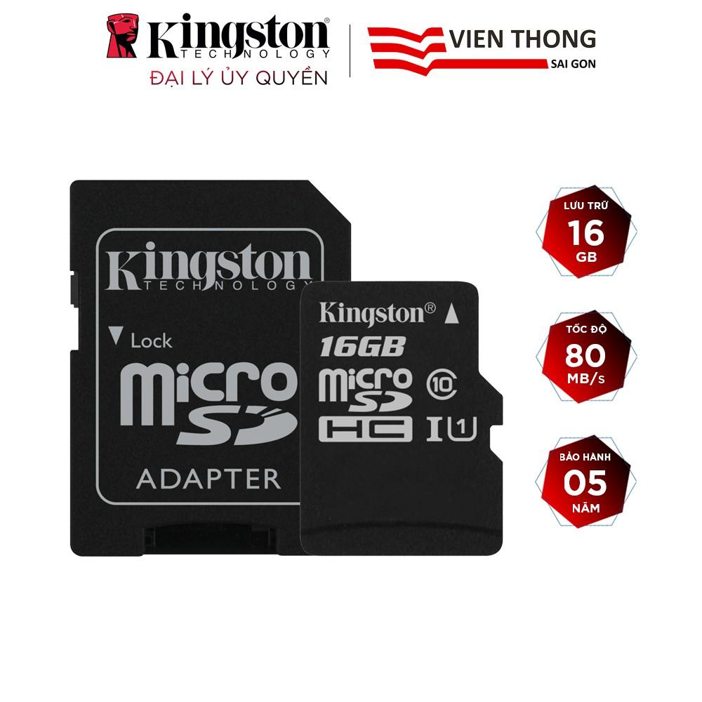 Thẻ nhớ micro SDHC Kingston 16GB Canvas Select upto 80MB/s + Adapter - Hãng  phân phối chính thức, Giá tháng 12/2020
