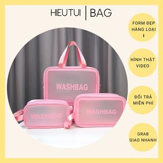 Túi đựng mỹ phẩm du lịch Washbag chống nước 3 size cao cấp, túi nhựa đựng đồ trang điểm trong suốt tiện lợi có quai xách