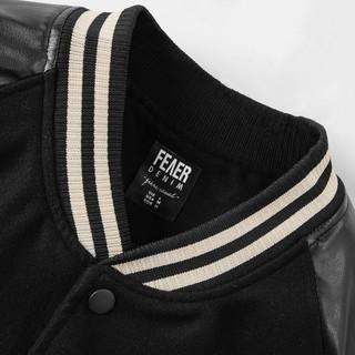 Hình ảnh Áo khoác Bomber nam họa tiết trơn Felt And Leather chất ép từ Len giữ nhiệt và thoáng - FEAER DENIM-3