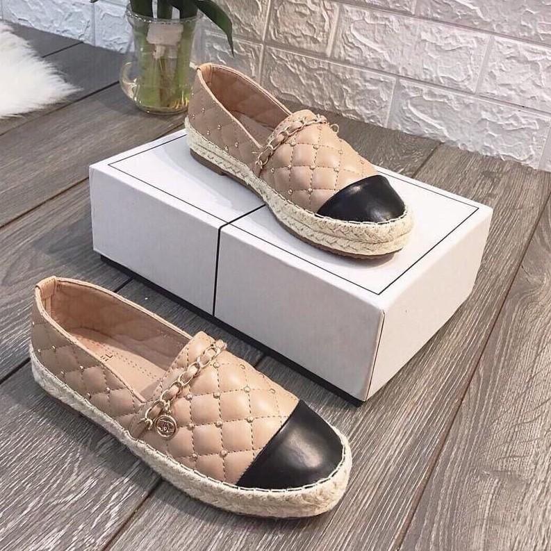 Giày lười đế bệt trần chỉ viền xích chất đẹp mã LM GN00027