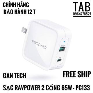 Sạc RavPower PD 2 Cổng 65W (GAN TECH) - Chính Hãng (Bảo Hành 12T)