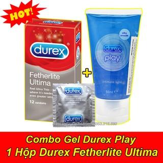 [Combo] Gel Bôi Trơn Durex Play 50ml + 1 Hộp Bao Cao Su Durex Fetherlite Ultima (Hộp 12 Bao)