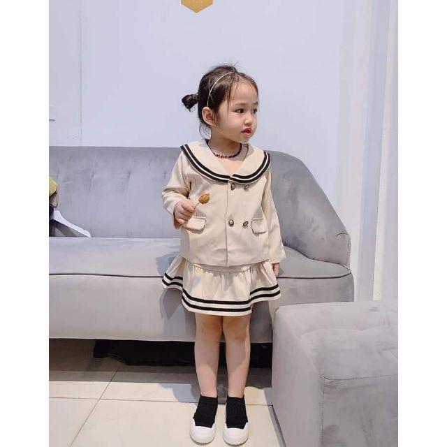 sét áo vest cổ tròn kèm chân váy  bé gái