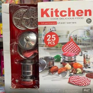 Đồ chơi trẻ em bộ đồ nấu ăn chất liệu thép không gỉ 25 chi tiết KITCHEN