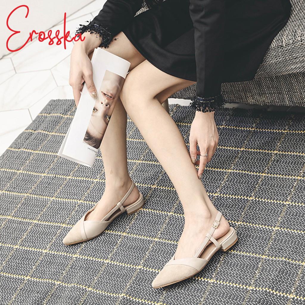 Hình ảnh Giày Sandal Nữ Đế Bệt Mũi Nhọn Thời Trang Erosska EL005 ( Màu Nude)-6