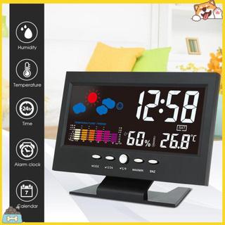 Đồng hồ báo thức trạm thời tiết đo độ ẩm nhiệt độ tiện lợi