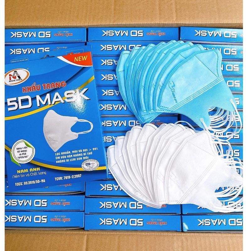 Khẩu trang 5D Mask - Hộp 10 cái - Người lớn - Trắng nhập khẩu