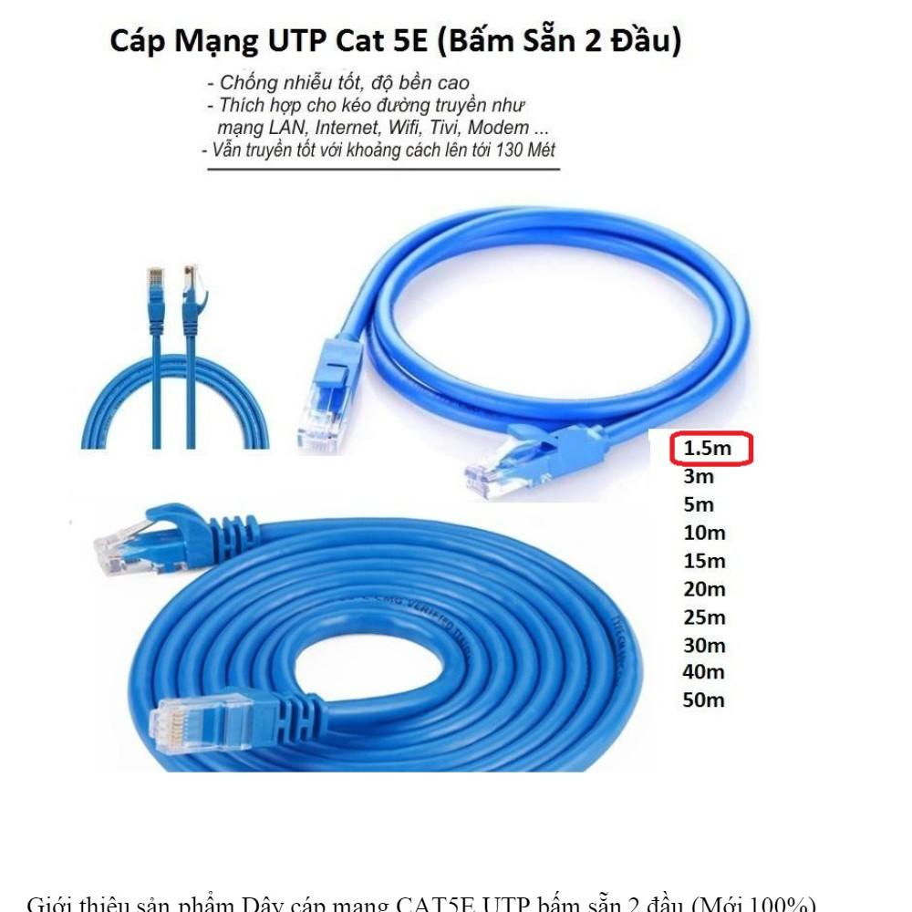 ( Bấm Sẵn 2 Đầu ) Cáp Mạng UTP Cat 5E Dây Xanh Cable Lan UTP Cat 5E - 5M