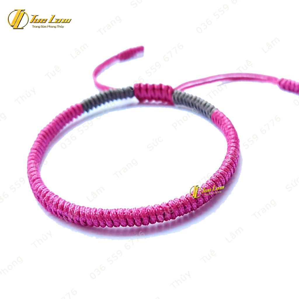 Vòng Tay Tibet Chỉ cao cấp màu hồng xám DIY-Tuệ Lâm
