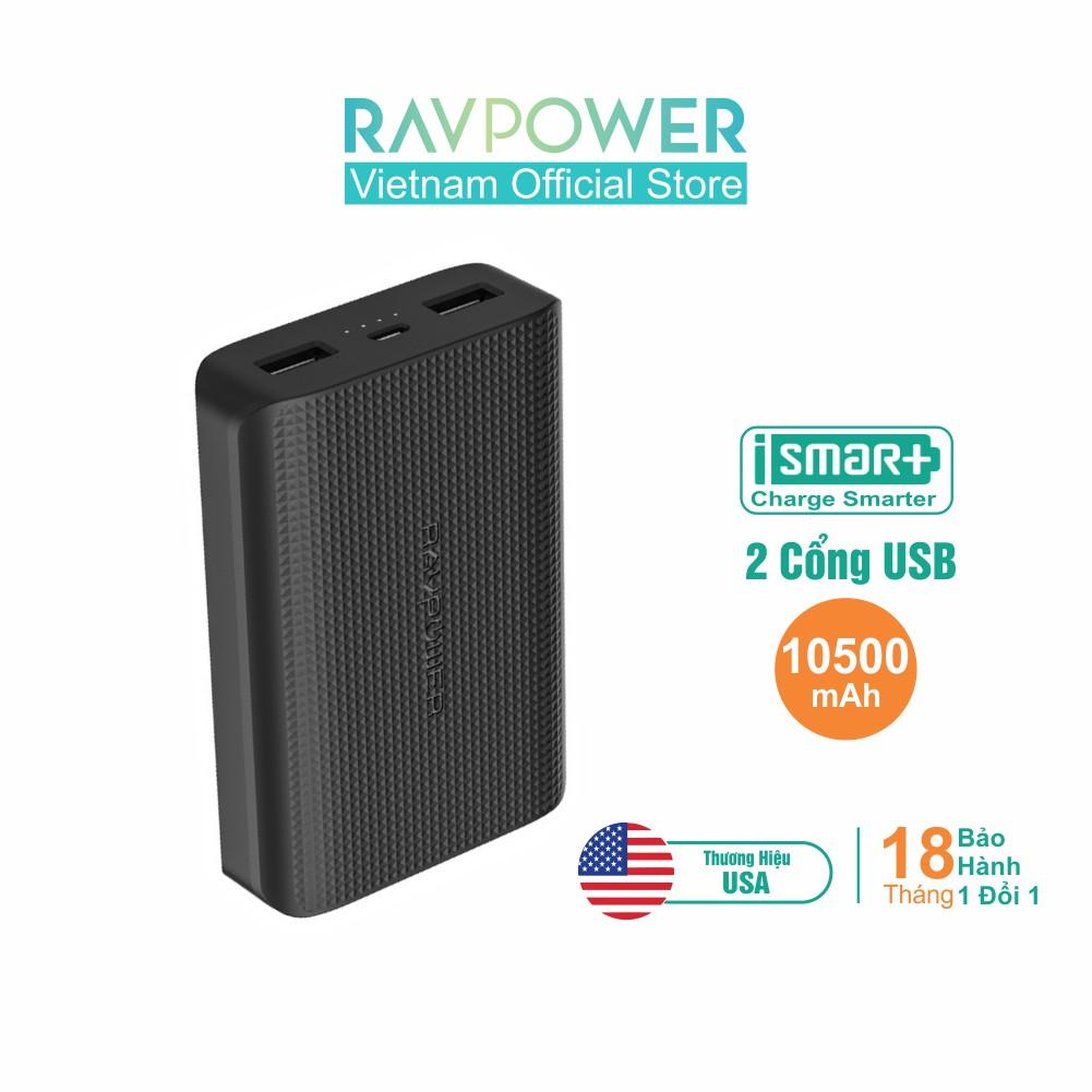 Pin Sạc Dự Phòng RAVPower RP-PB133 10500mAh Sạc Nhanh Công nghệ iSmart - Hãng Phân Phối Chính T