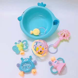 [SIÊU ĐẸP-XANH và VÀNG] Trọn bộ đồ chơi lục lạc 7 món siêu dễ thương cho bé