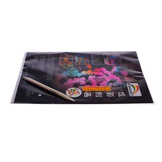 10 Sheets16K Colorful Scratch Art Children Painting Paper Free Drawing Pen Stick