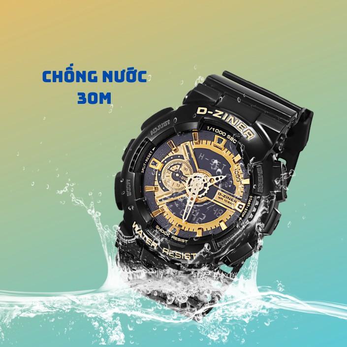 Đồng Hồ Thể Thao Điện Tử Nam D-ZINER 3398 Chống Thấm Nước Đèn Led Xem Giờ Ban Đêm - L
