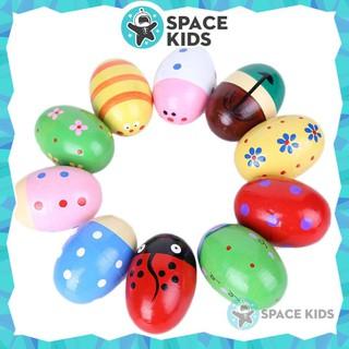 Đồ chơi Lục lạc, Xúc xắc gỗ hình quả trứng nhiều màu sắc cho bé từ 3 tháng tuổi Space Kids