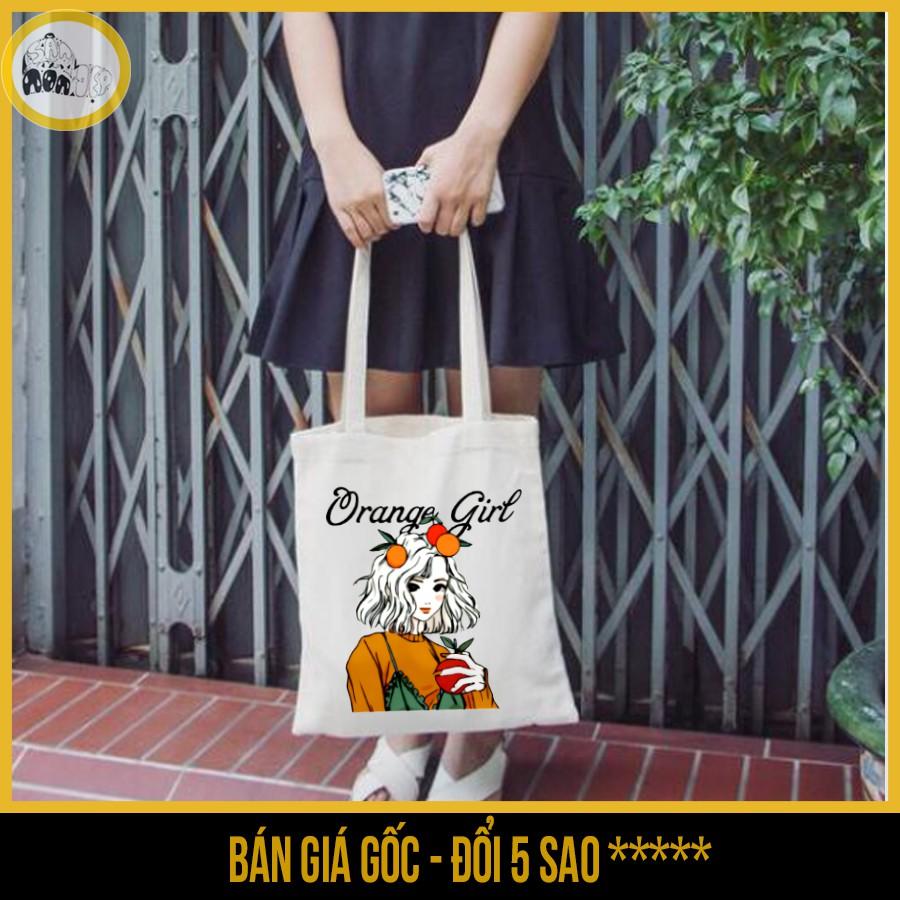 Túi tote vải canvas, có khóa kéo in hình cô gái và trái cam orange girl - Săn Nón Đẹp