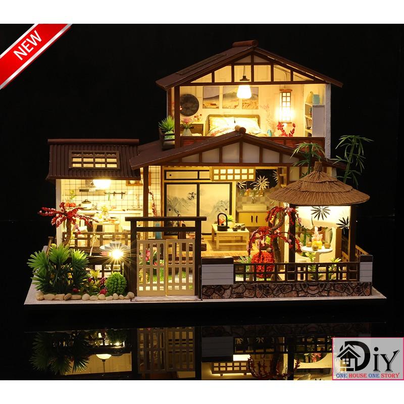 Mô hình nhà búp bê lắp ráp bằng gỗ DIY CHERRY BLOSSOMS HOUSE (Kèm dụng cụ keo + MICA +...