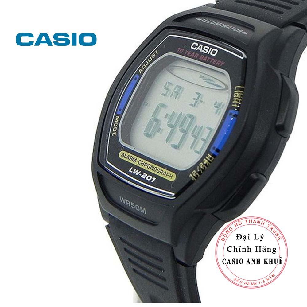 Đồng hồ điện tử nữ Casio LW-201-2AVDF dây nhựa