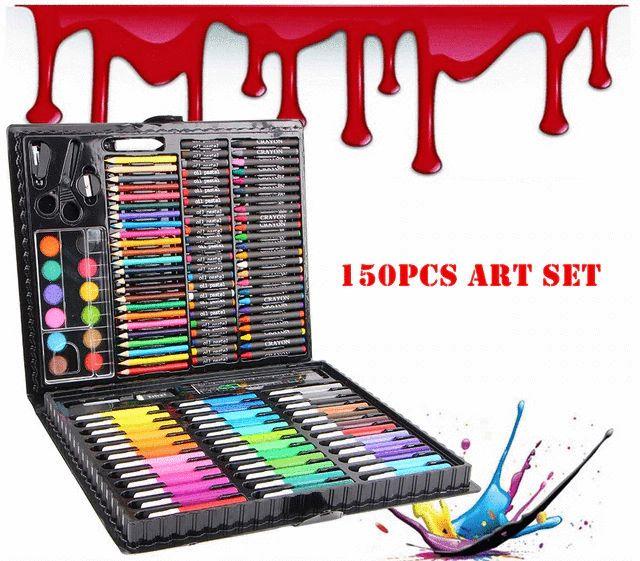 (ĐÓNG GÓI HỘP CATTON ĐẸP MẮT) Bộ hộp màu 150 chi tiết cho bé tô vẽ thỏa thích